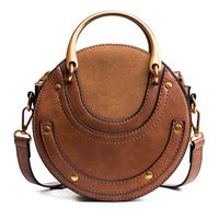 LJL Circular Scrub PU Leather Women Bags Retro Handbag Small Round Women Shoulder Mini Bag