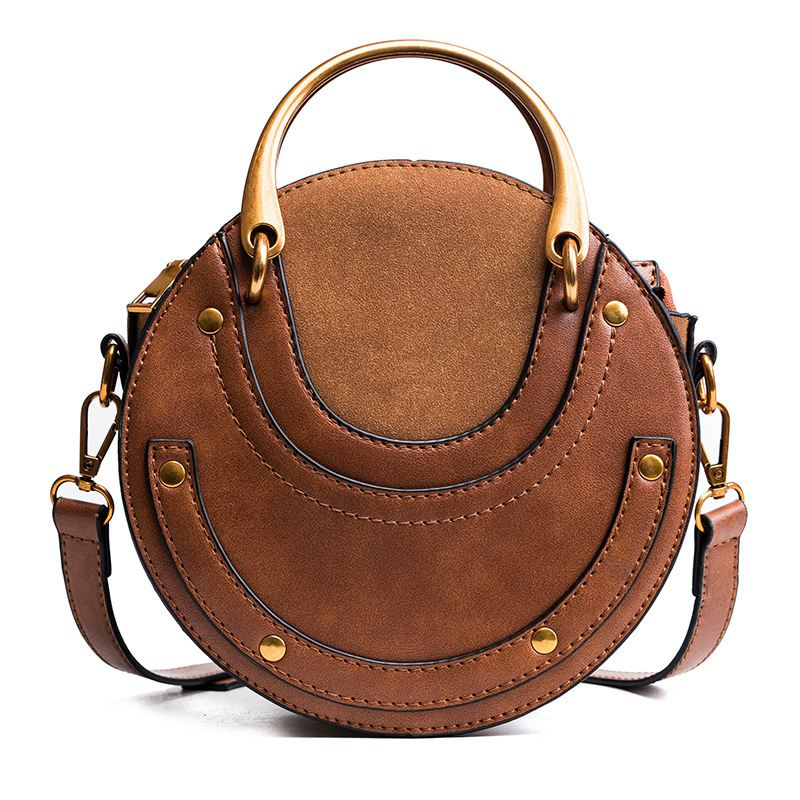LJL Circular de la PU de cuero de las mujeres bolsas Bolso pequeño redondo de las mujeres hombro bolsa