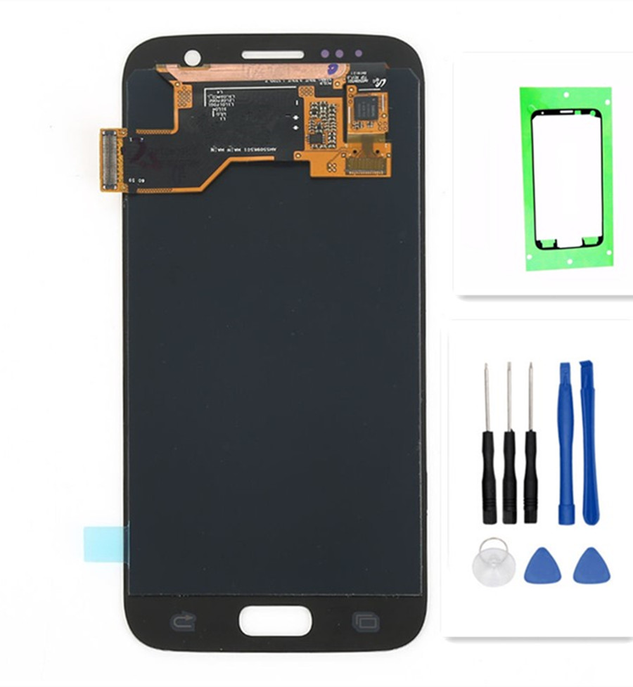 Per SAMSUNG GALAXY S7 G930A G930F SM-G930F Display LCD Touch Screen Digitizer Assembly di Ricambio Per SAMSUNG S7 LCD + strumento