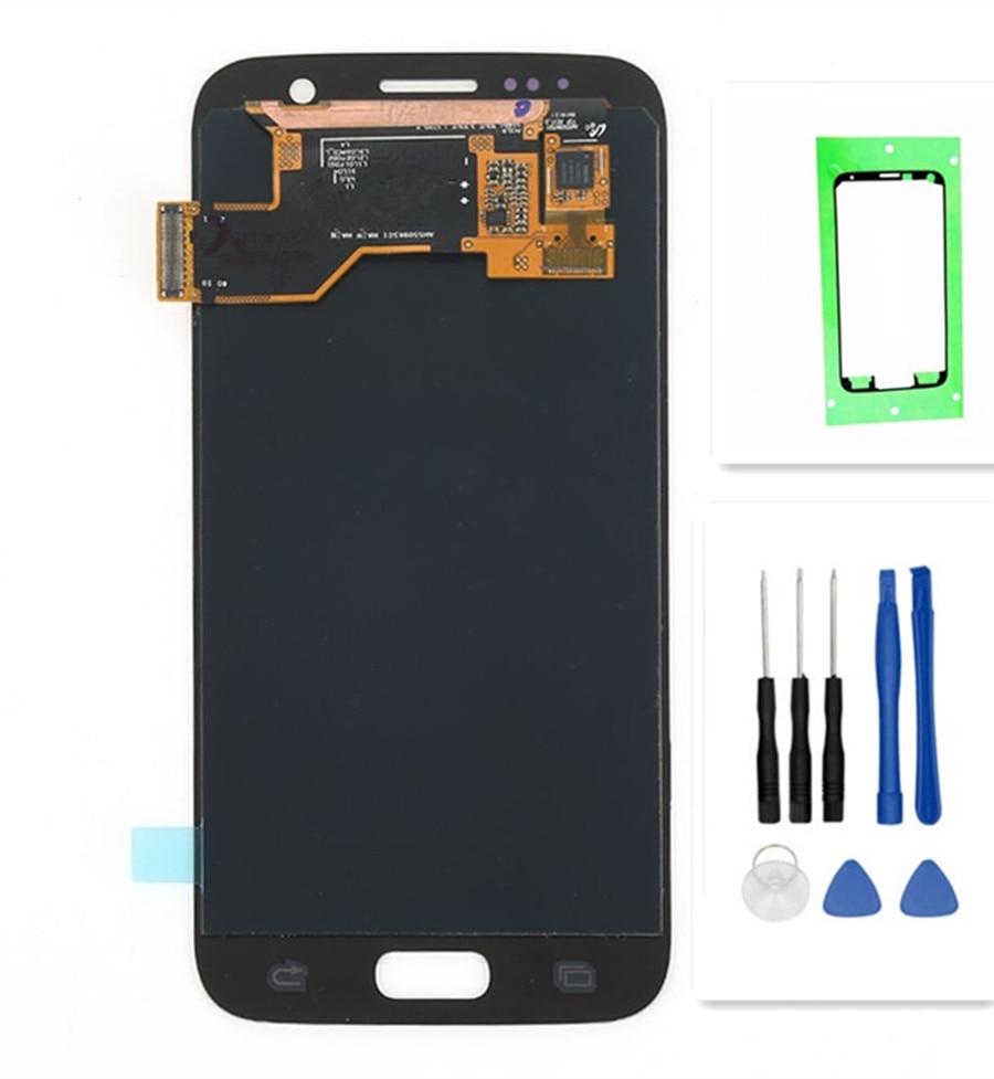 Pour SAMSUNG GALAXY S7 G930A G930F SM-G930F L'assemblée de convertisseur analogique-Numérique D'écran Tactile d'affichage d'affichage à cristaux liquides de Remplacement Pour SAMSUNG S7 LCD + outil