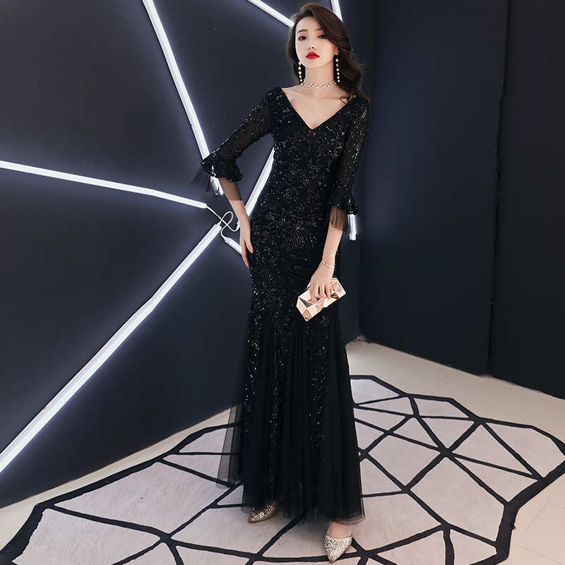 weiyin 2019 Sexy V Neck Mermaid Evening Gown Half Sleeves Red And White Sequins Long Evening Dresses WY1110