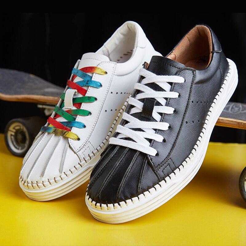 E Verão Sapatos Outono Couro Casuais Lazer branco Jogo Homens Todos Genuíno Dos Do Moda No Preto Respirável Botas De Calçados Primavera Masculina Os Tênis qF8IHIw