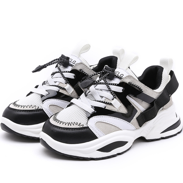 Spring New Fashion Baby Girls Black Genuine Leather Shoes Children Mesh Sport Sneakers Kids Casual Shoes Boys Brand Shoes 2019 1