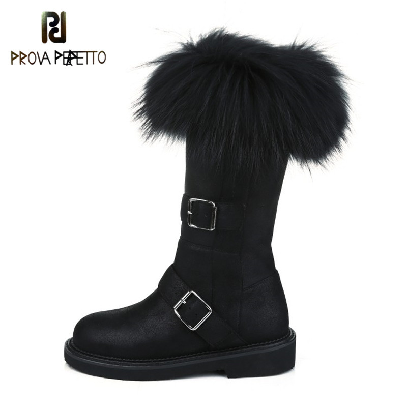 Prova Perfetto 2018 Women Snow High Boots Female Plush Winter Boots Warm Australia Booties Fashion Shoes Low Heel Woman Botas все цены
