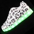 2016 El Nuevo USB recargable ilumina LED cordones de los zapatos luminosa Música zapatos chaussure calzado casual para hombres Unisex para adultos