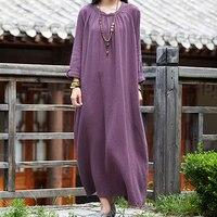 Chinese Sytle Vintage Soft Linen Dress Women Autumn Winter Loose Dresses Mori Girl Long Sleeve O