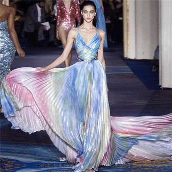 2019 New Arrival Fashion Multicolor Patchwork Spaghetti Strap Long Maxi Mermaid Backless Sexy Luxury Evening Celebrity Party