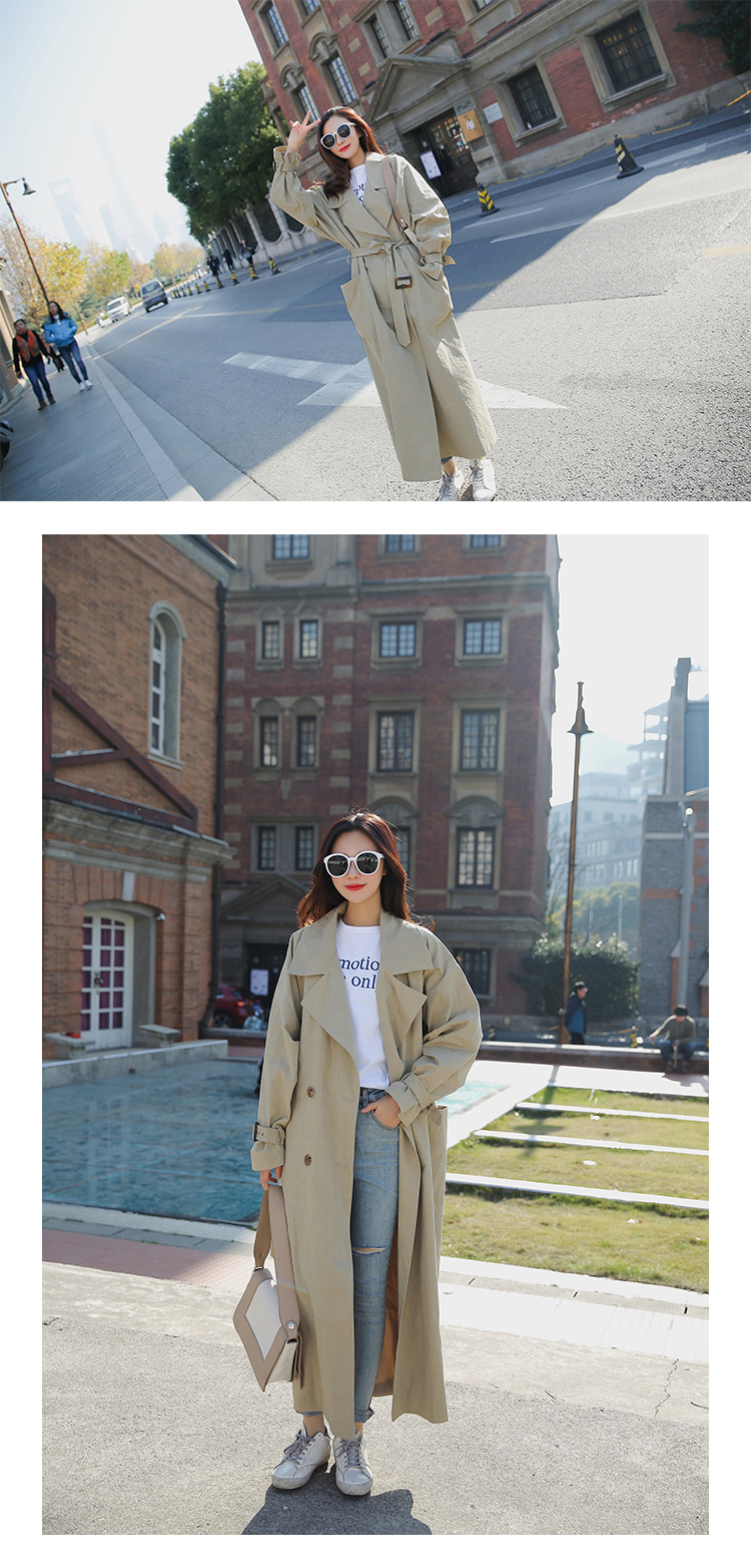 new arrival women fashion holiday comfortable loose trench coat professional OL temperament solid girls warm outdoor long trench 6