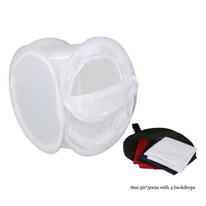 Plegable Photo Studio Shooting Tent Cube Softbox 50*50 cm con 4 Telones de Fondo