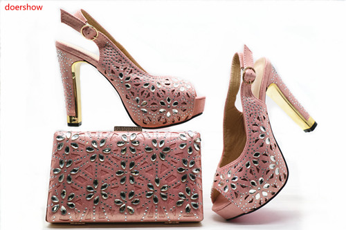 doershow Nigerian Style Woman Shoes And Bag Set Latest PINK Color Italian Shoes And Bag Set For Party Dress Free Shipping HX1-14 free shipping nylon pure black color soft backpacks storage bag for shoes and clothing with drawstring closure zz225