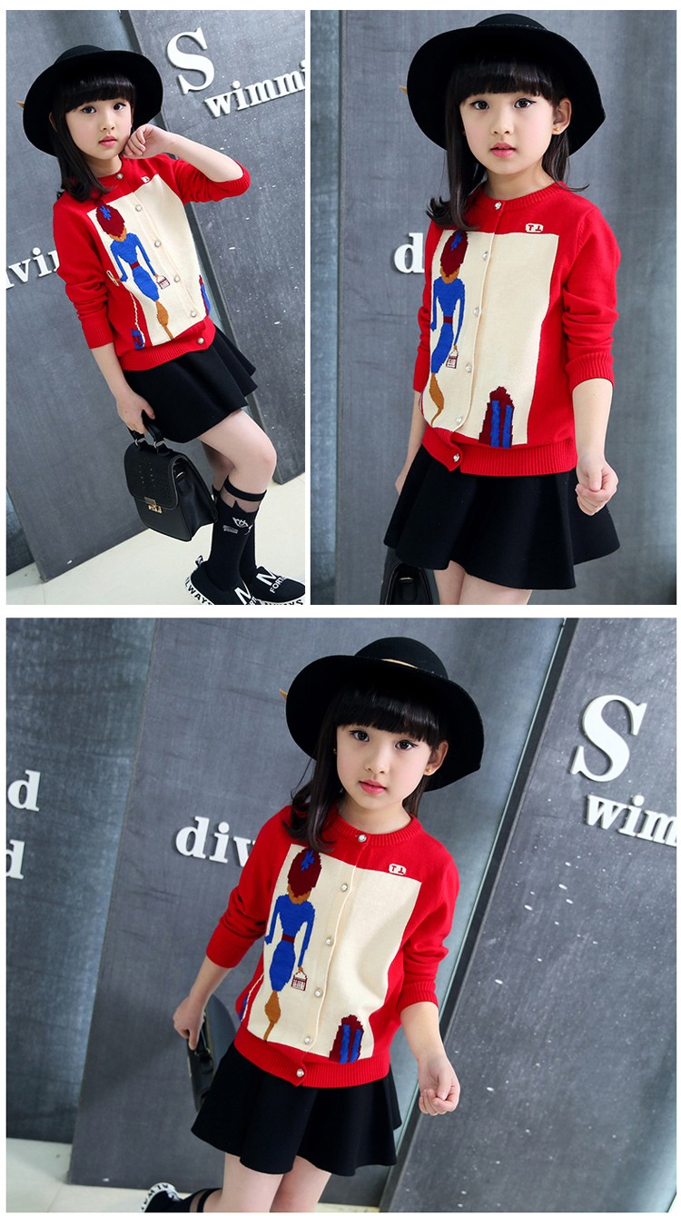 character knitting girls cardigan sweater kids red black long sleeve knitted girls sweater jacket winter autumn 2016 girls tops clothes  6 7 8 9 10 11 12 13 14 15 16 years old big little teenage  girls knitted sweater clothing (3)