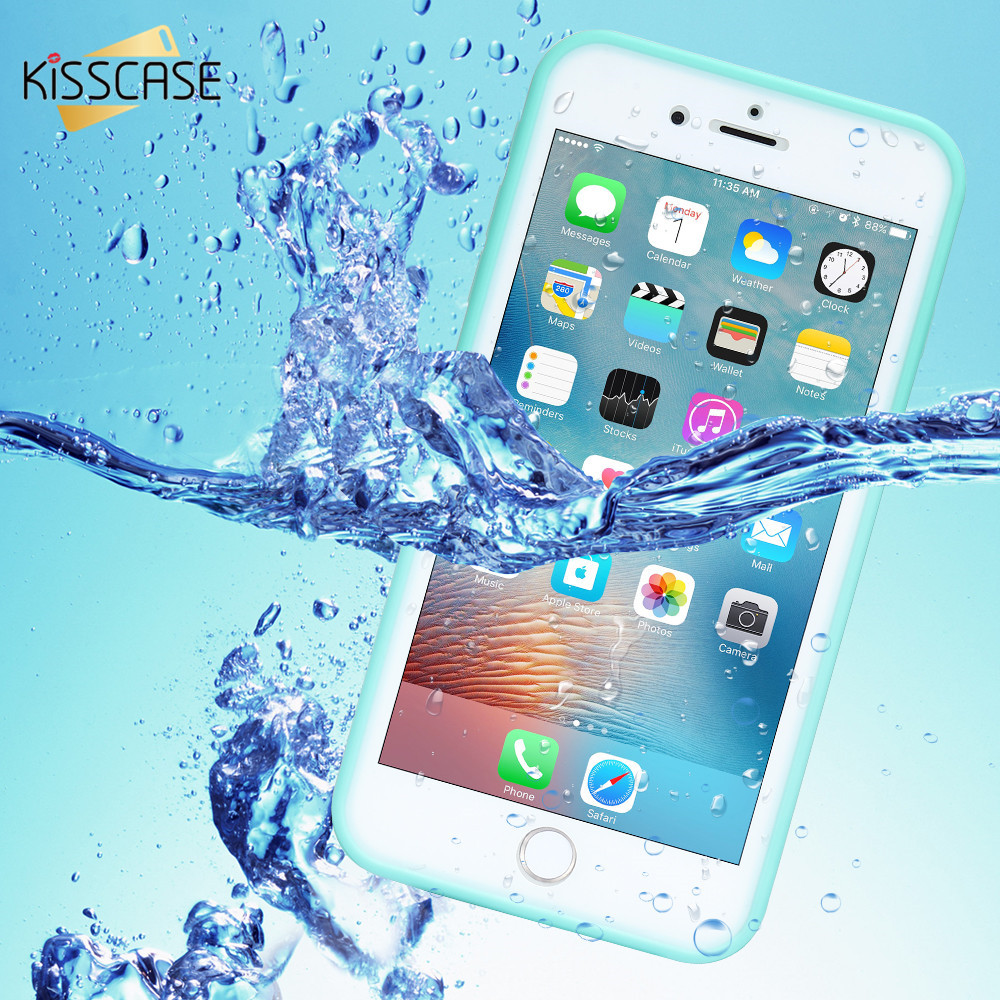 KISSCASE Waterproof Case For iPhone 5 <font><b>5S</b></font> <font><b>SE</b></font> Underwater Diving Swimming Full Tight Sealed Soft TPU Cover For iPhone 7 8 6 6s Plus