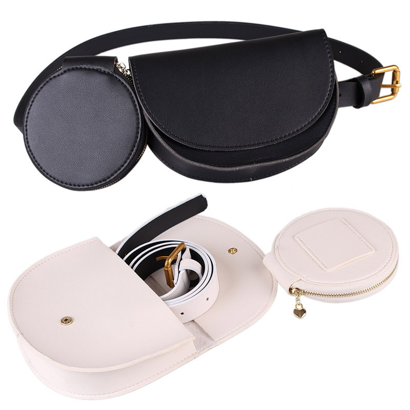 Women Composite Waist Bag Detachable Belt Bag High Quality PU Leather Women Fanny Pack Pocket Phone Money Holder Two-piece Set