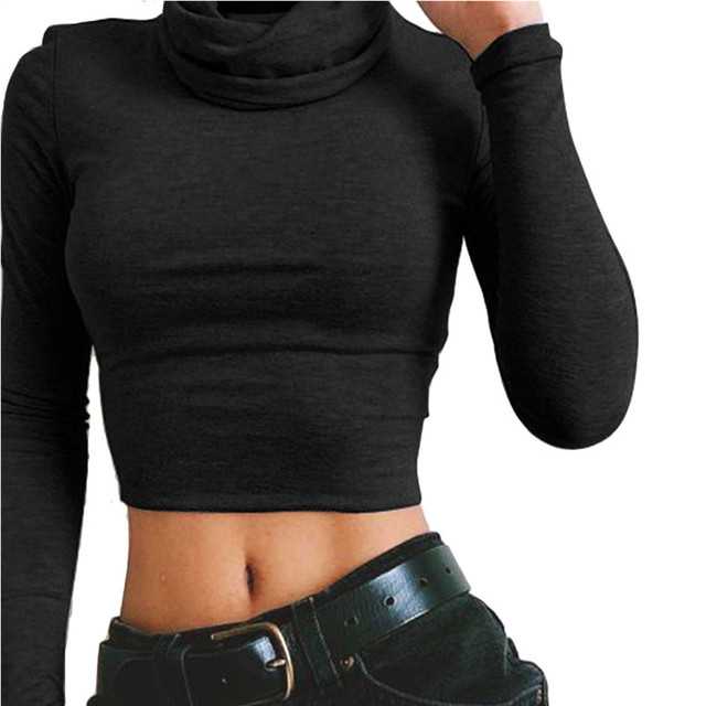 3affcc2eaf2 Slim Fit Sexy Crop Tops For Women 2017 Autumn Winter Turtleneck Cotton  Blouse Long Sleeve Workout