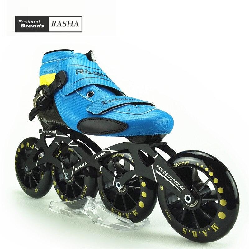 Prix pour RASHA SKATE inline chaussures de patinage de vitesse vitesse patins bleu carbone patin à roulettes en ligne boot 110mm 100mm roues patines en linea
