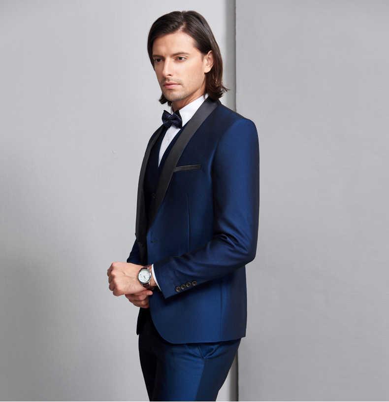 新着カスタマイズショール黒ラペル新郎スーツ結婚式男性 3 個 (ジャケット + パンツ + ベスト) ロイヤルブルー男スーツ