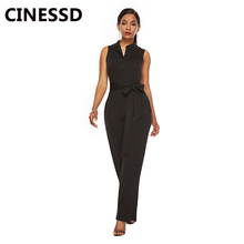 CINESSD Sexy V Neck Sleeveless Women Jumpsuit Black High Waist Casual Pocket Romper Lady Button Long Playsuit Bodysuit with Belt pocket patched v neck belted romper