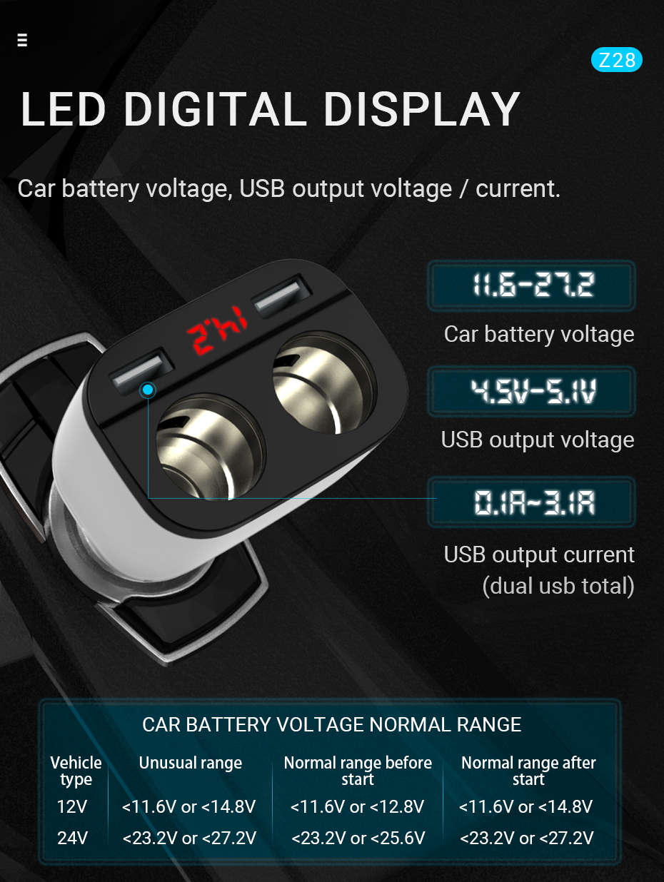hoco-z28-power-ocean-cigarette-lighter-in-car-charger-with-digital-display-input