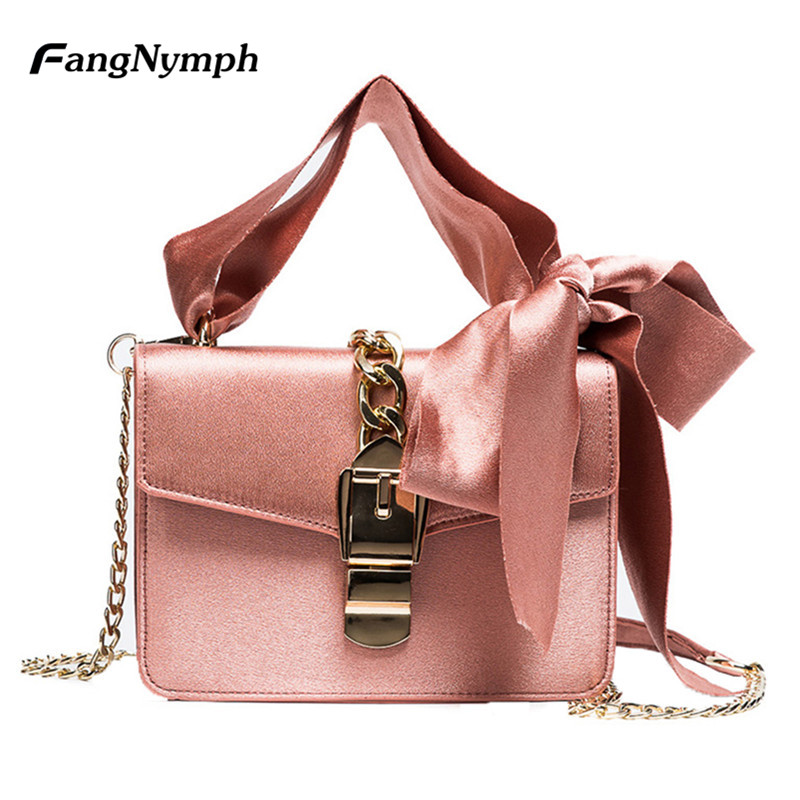 FangNymph 2018 Luxury Handbags Women Bags Designer Small Femlae Chains Ribbons Shoulder Crossbody Bag Girls Mini Flaps feral cat women small shell bag pvc zipper single shoulder bag luxury quality ladies hand bags girls designer crossbody bag tas