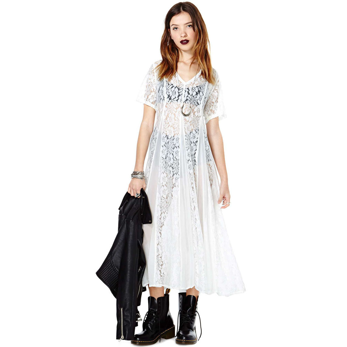 New 2017 Women White Dresses Summer Nasty Gal Lace Chiffon Patchwork Vintage Short Sleeve Cute One Piece Long Maxi Dress Full In From S
