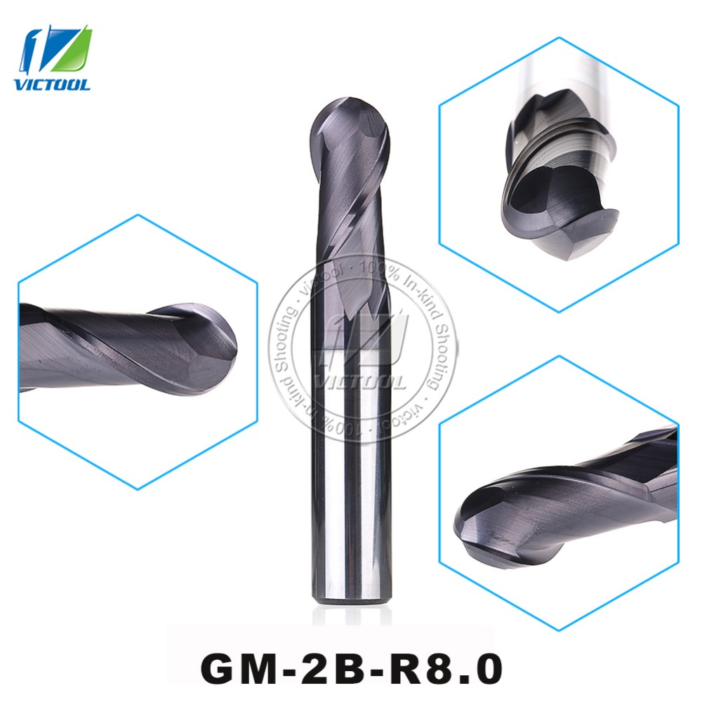GM-2B-R8.0 Cemented Solid Carbide High Speed Machining Applicable 2-Flute Ball Nose End Mills Straight Shank Cutting Tools gm 2b r7 0 cemented carbide high speed machining applicable 2 flute ball nose end mills straight shank cutting tools
