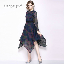 S-XXXL Plus Size Asymmetrical Print Lace Dress Women O-neck Long Sleeve Blue Dresses Big Swing Evening Party Ladies