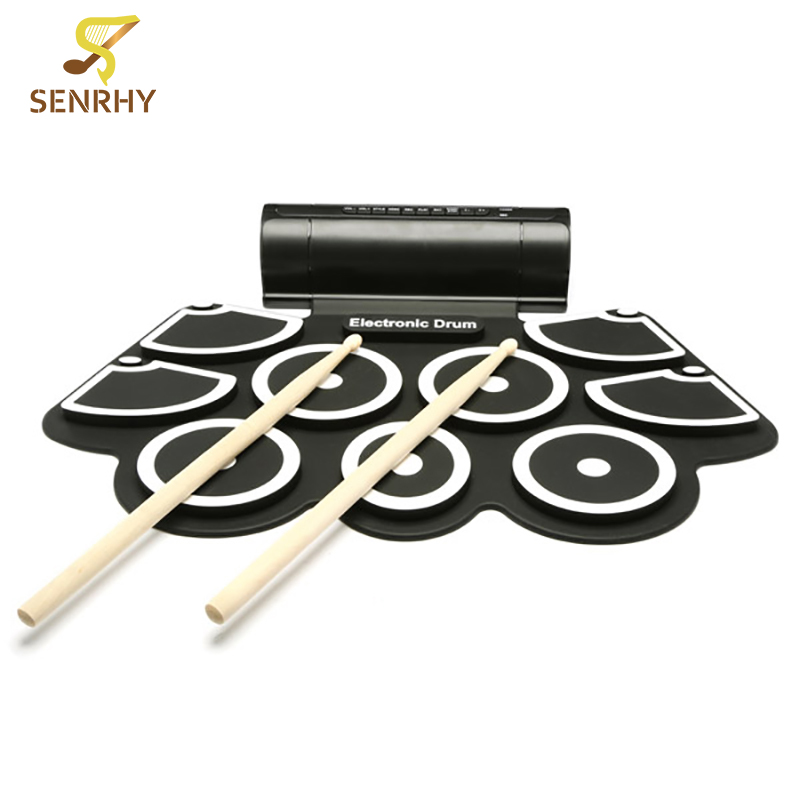 Senrhy Silicone Electronic Drum Pad Kit Portable Digital USB MIDI Roll-up with Drumstick Foot Pedal Foldable Practice with drums cheerlink md 1008 usb portable multifunctional professional midi electronic drum multicolored