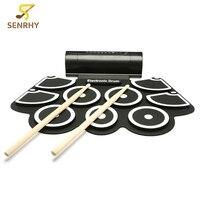 Senrhy Silikon Elektronische Drum Pad Kit Tragbare Digitale USB MIDI Roll-up mit Drumstick Fußpedal Faltbare Praxis mit trommeln