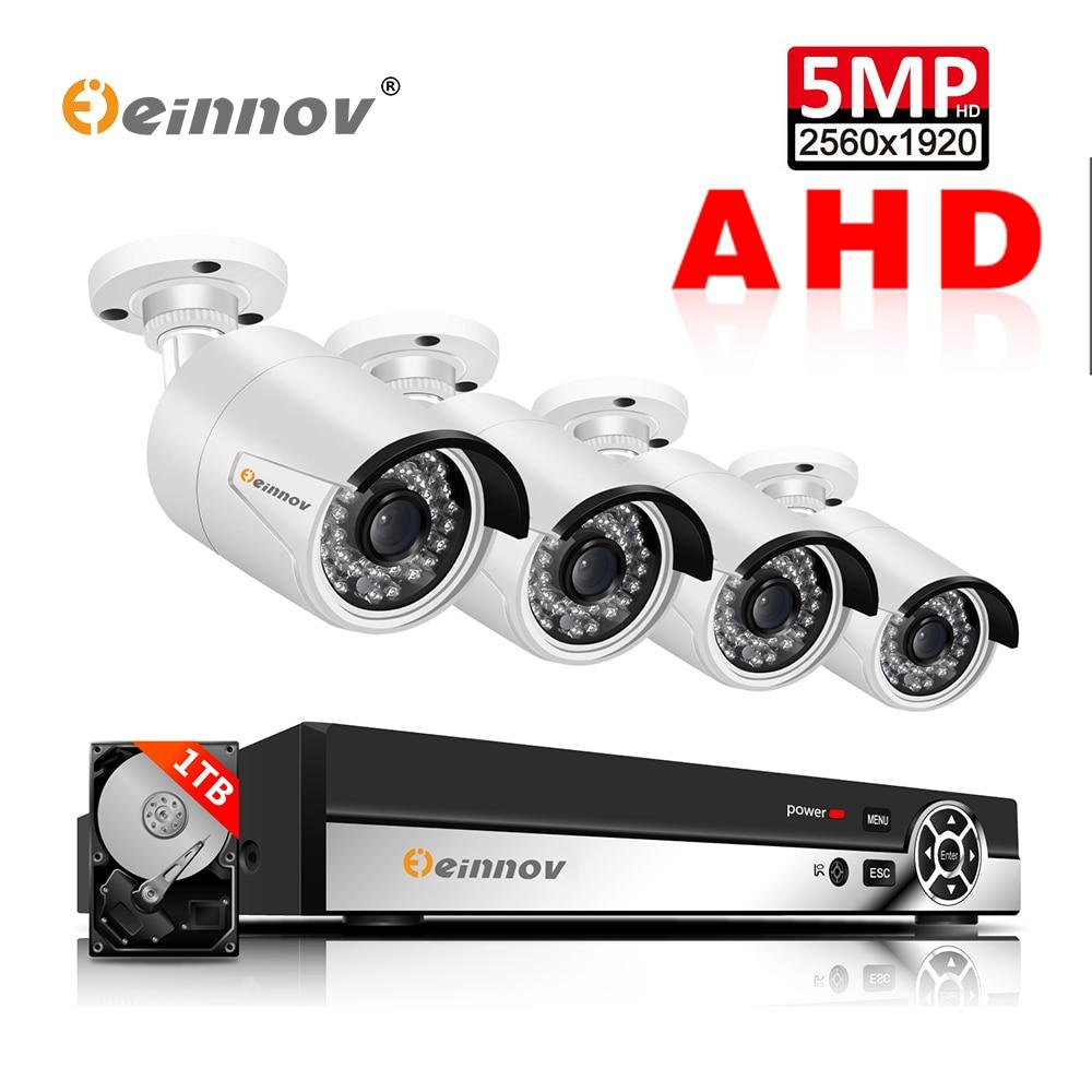 Einnov 4CH 5MP AHD DVR Camera Video Monitoring Outdoor Surveillance Kit CCTV Home Security Camera System