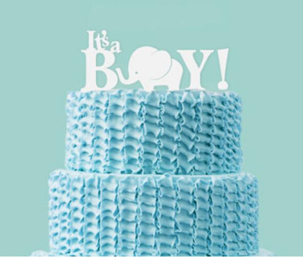 Baby Shower White Color Acrylic Cake Topper Its A Boy Cake Topper