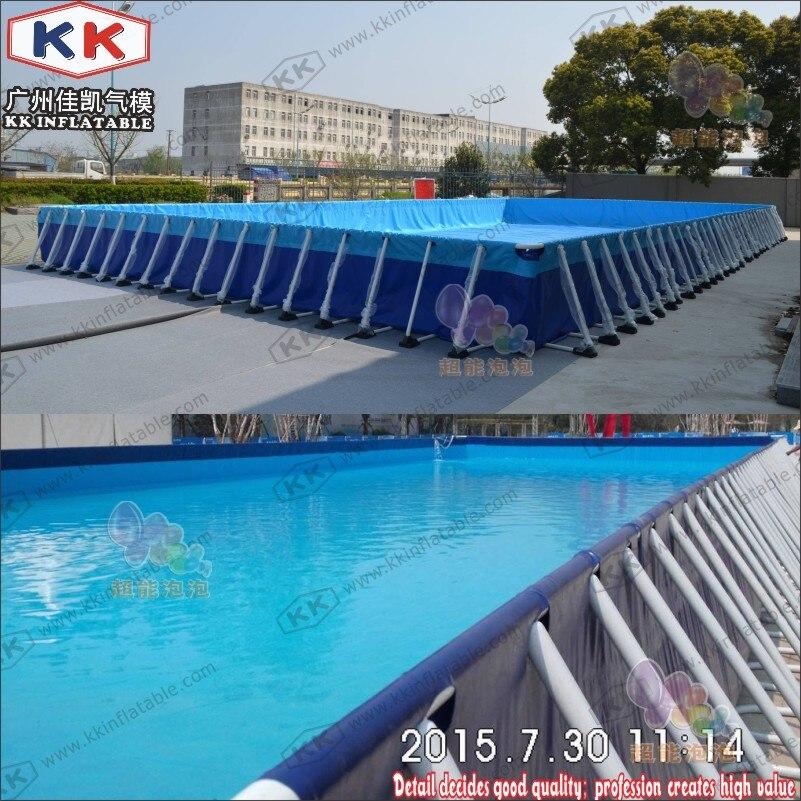 Rectangle Metal Frame Paddling Pool 0.9mm PVC Tarpaulin For Water Park
