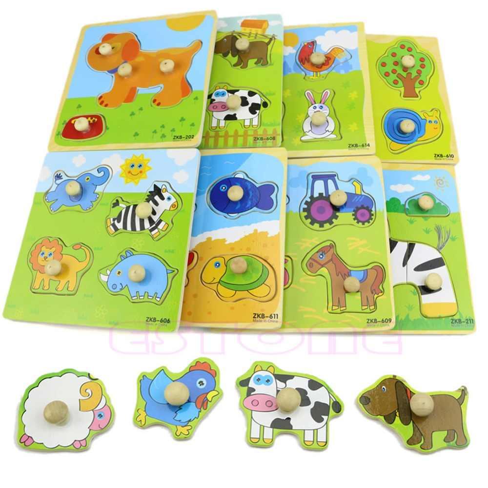 Adjustable Colorful 4 Bentuk Bayi Anak Pendidikan Bata Kayu Hewan Puzzle Mainan O26