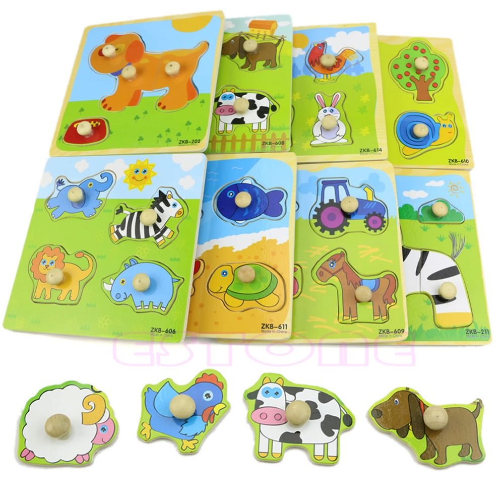 Adjustable Colorful 4 Shape Baby Kids Educational Brick Wooden Animal Puzzle Toy O26