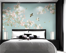beibehang Crabapple flower new Chinese hand-painted stereo wall paper bird background wallpaper 3d decoration painting