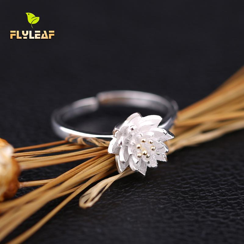 Flyleaf 925 Sterling Silver Rings For Women Golden Lotus Romantic Femme Fashion Fine Jewelry Simple Open Flower Ring Party