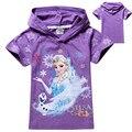 100% Cotton Baby Girls Frozen Girl Purple T Shirt Girl Summer Cotton T-shirt with hat