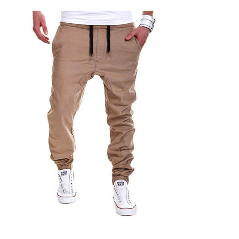 2020 Brand mens Casual Tethered elastic waist trousers Solid color Beam foot pants hip hop Pencil pants male Sweatpants 6 colors 17