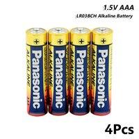 Panasonic 4 шт. 1,5 в AAA Батарея UM4 LR03 AM4 сухие щелочные батарейки один Применение для игрушечный фонарик K3A FR03 ND61R R03