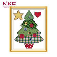 Button Christmas tree home decor printed canvas Cross stitch
