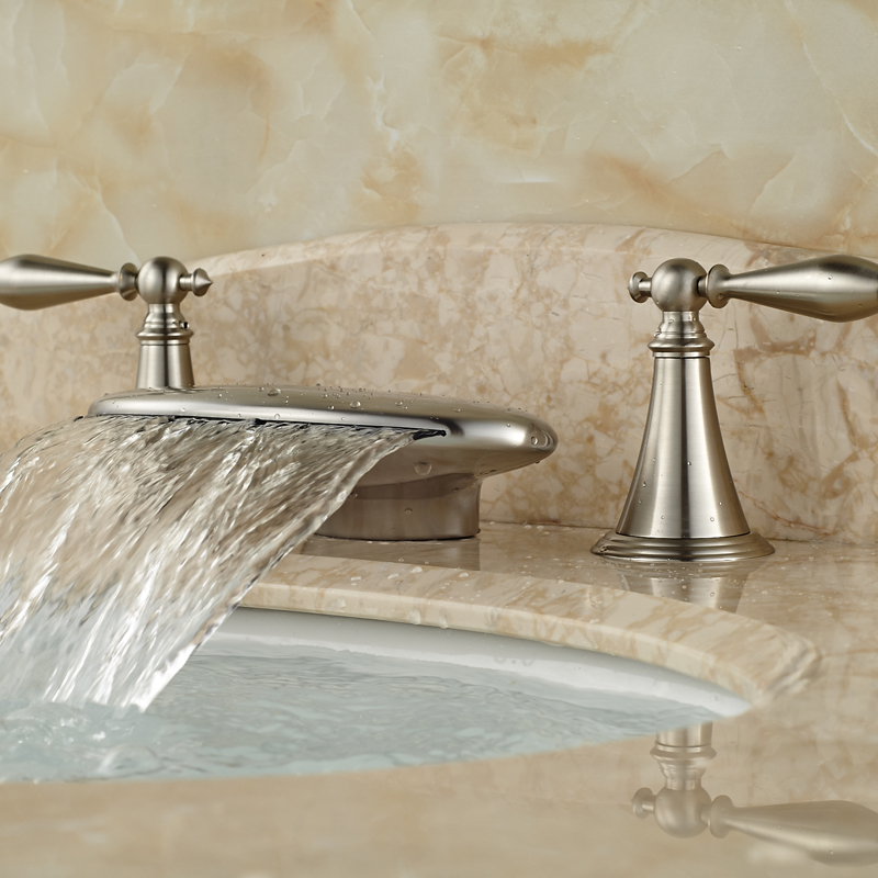 ФОТО Widespread Waterfall Spout Basin Sink Mixer Taps Deck Mount Brushed Nickel Basin Faucet
