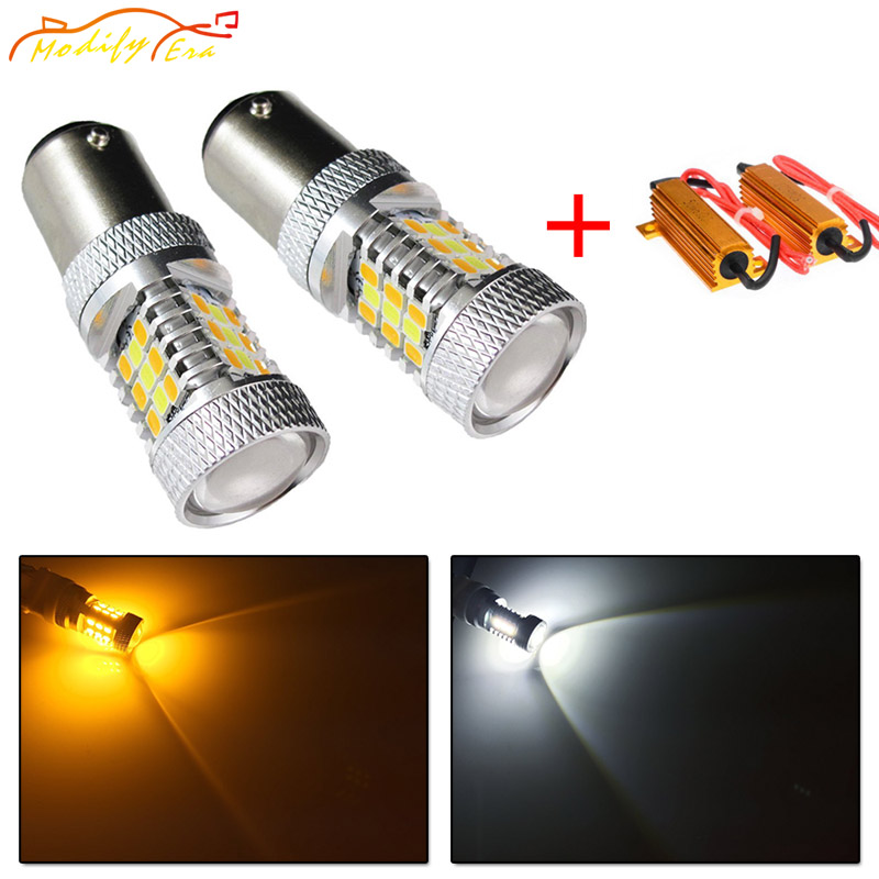 Modify.Era 2pcs BAY15D 1157 2357A Car Canbus Error Free LED Bulb For DRL Turn Signal Light Dual-Color Switchback 31SMD Led Light
