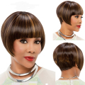 High Quality Straight Short Bob Wigs Heat Resistant Synthetic Hair With Bangs For Black Women Peluca Peruca Perruque VELVEL