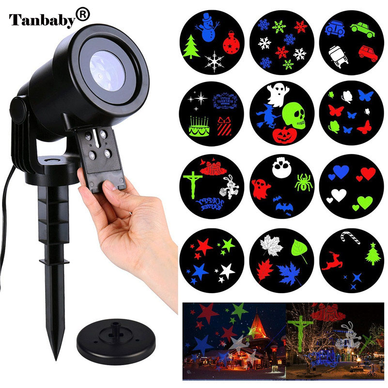 Tanbaby Halloween Decoration Projector Lights Holiday Moving Rotating Projection Lamp with 12 Slides Indoor Outdoor Use plastic standing human skeleton life size for horror hunted house halloween decoration