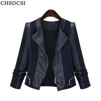 CHSDCSI Fashion Autumn Women Patchwork Pu Leather Jacket Motor Outwear Loose Coat Zippers Roupas De Couro