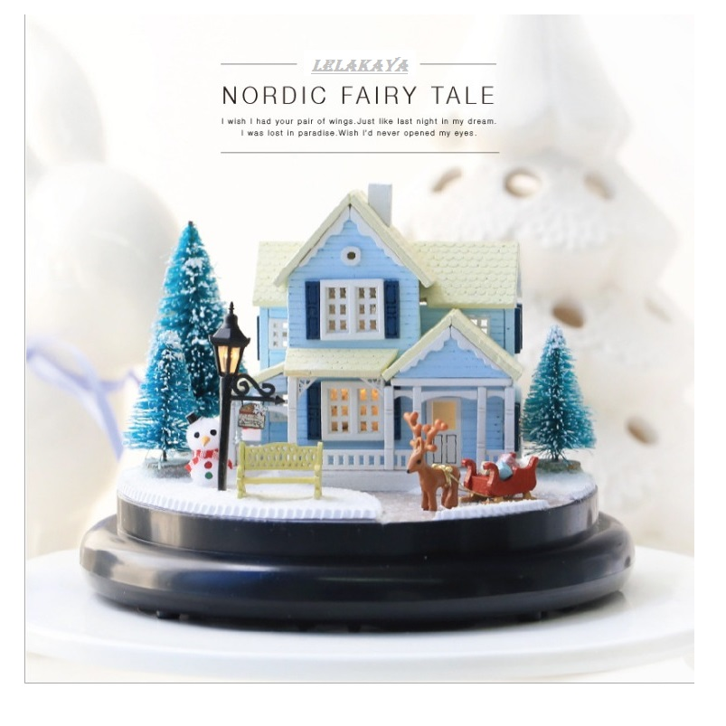 doll house winter house snow wooden doll houses Nordic Fairy Tale miniature home assembling toys dollhouse diy glass ball kit 1