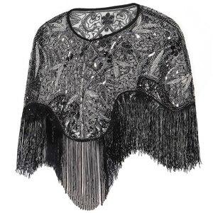 Image 2 - 여성 1920 년대 플래퍼 자수 프린지 숄 커버 개츠비 파티 페르시 스팽글 케이프 빈티지 메쉬 scraf 랩 드레스