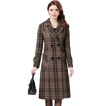 Haute couture Women Plaid woolen coat 2020 Autumn chckered jacket Korean fashion clothing temperament Long wool coats thick