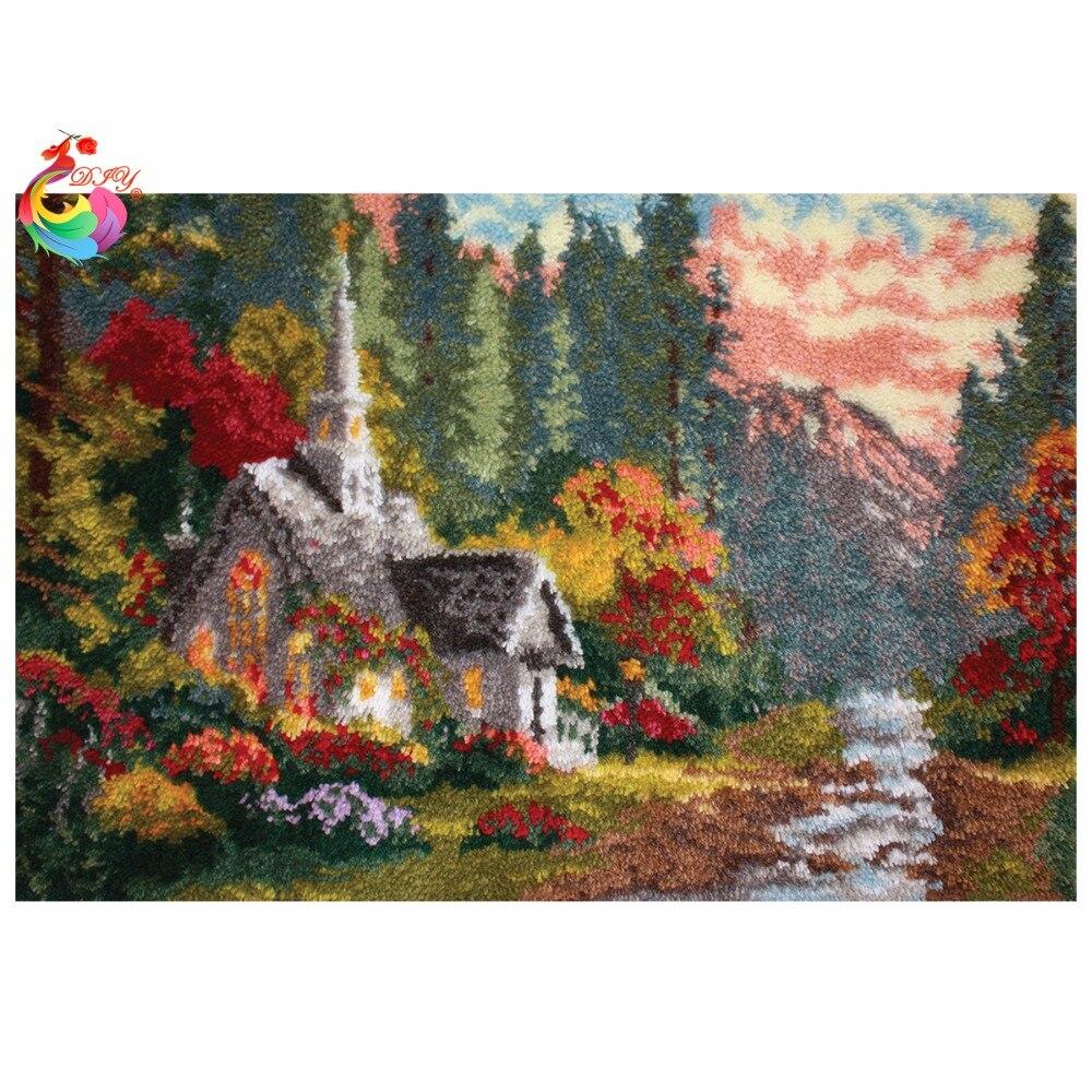 Kit de alfombra de gancho para manualidades Kit de costura, alfombra de ganchillo sin terminar, cojín, alfombra bordada, casa gris, grande size110x75cm-in Aguja de lengüeta from Hogar y Mascotas    1