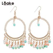 Loake Bohemia Earrings Dangle Ear Drop Jewelry Boho Accessories Colorful Beads Gold Color Alloy Round Earrings