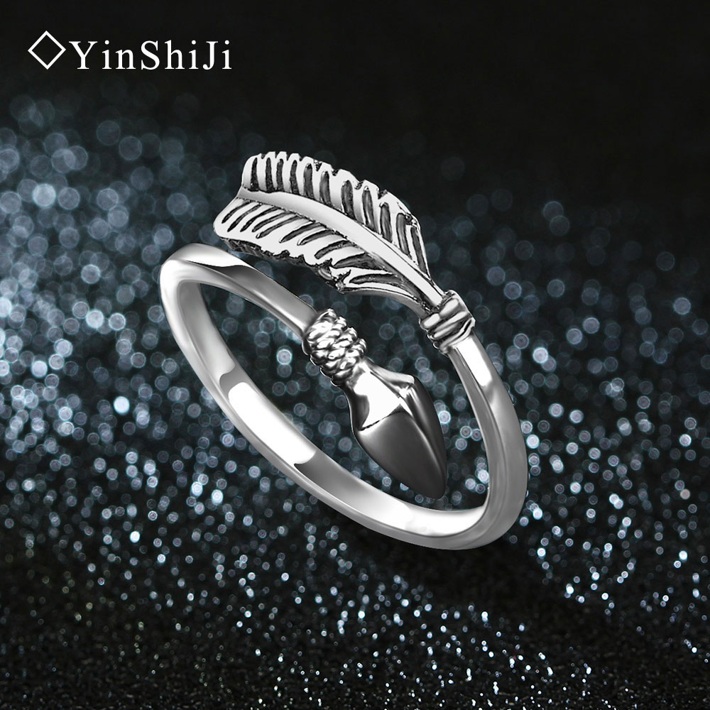 YinShiJi 100% 925 Sterling Silver Rings For Women Cupid Arrow Design Vintage Thai Silver Jewelry Open Ring For Lover Best Gifts